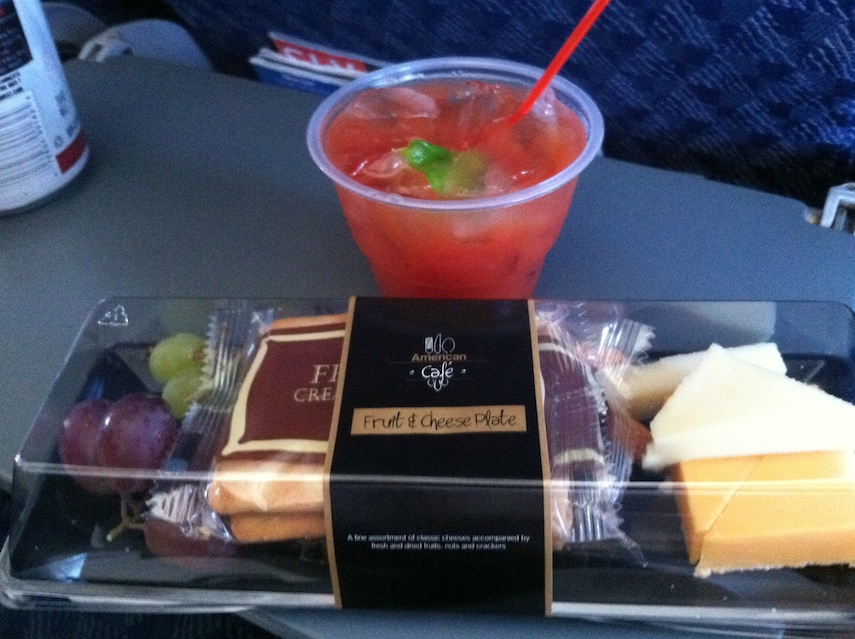 Bloody Mary and fruit and cheese purchase