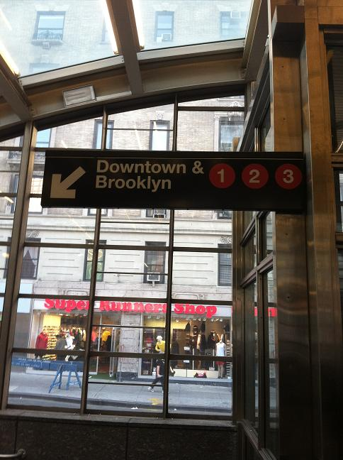 The 1, 2, 3 Downtown & Brooklyn trains sign