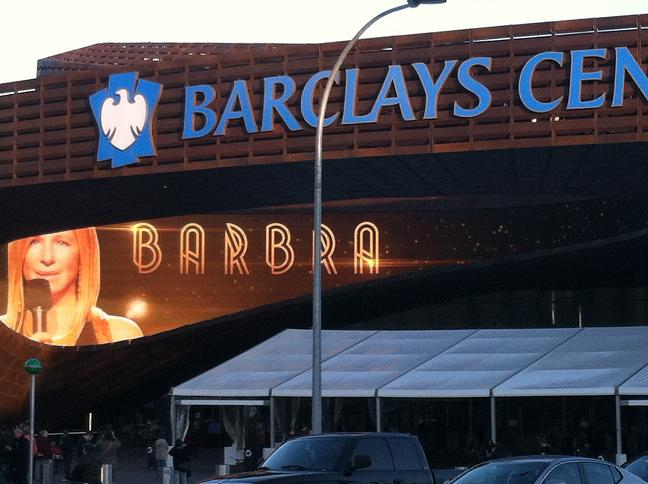 Huge electronic advertisement of Barbra on the front entrance to the Barclays Center