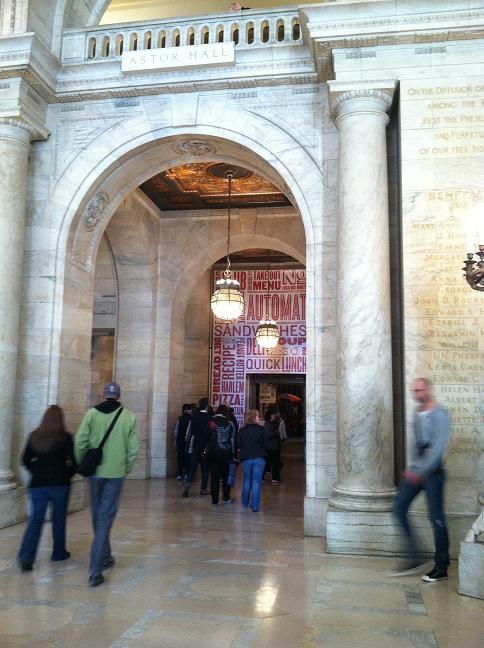 Inside the lobby and straight ahead