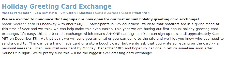 A description of the exchange, which basically says you'll be matched up with someone to send a greeting card to, and someone will be matched up to send one to you