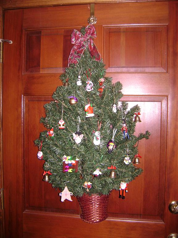 Decorated Christmas tree door decoration