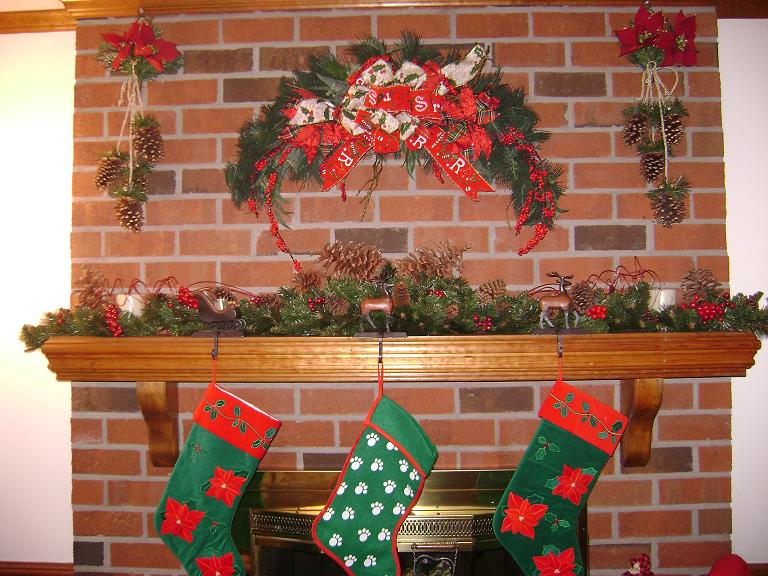 Close-up of the mantel