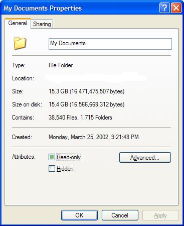 15-gig My Documents folder on my desktop machine