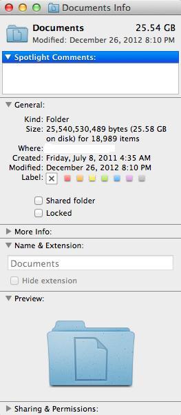 25.5-gig Documents folder on my Mac