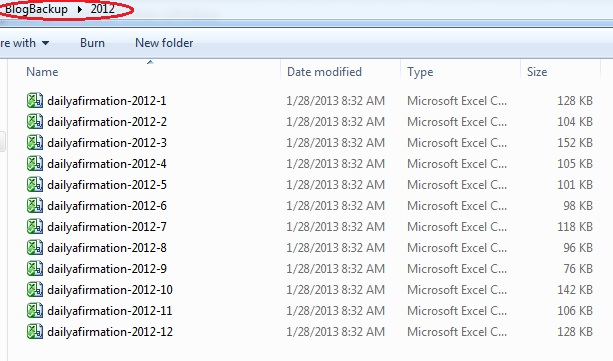 Months 1-12 of 2012 backed up blog files