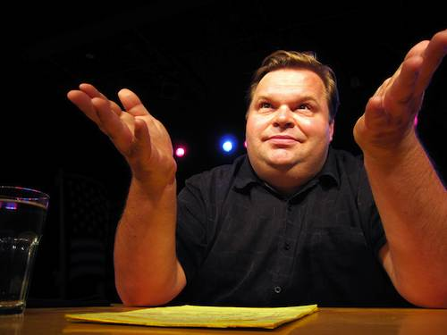 Mike Daisey at Manbites Dog Theater after his performance at The Durham Art Center