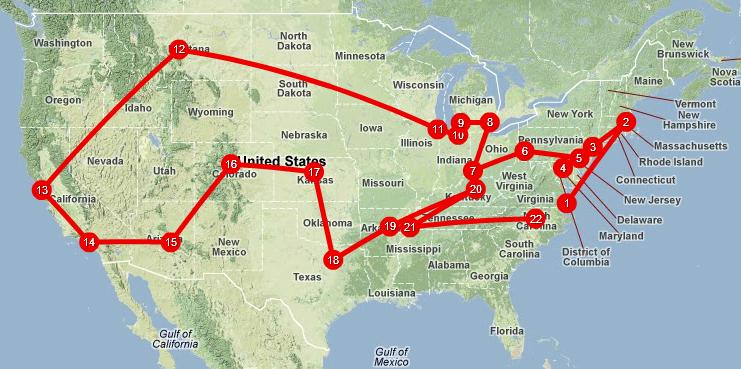 Map of US with stops in different cities and states that match the songs in the playlist