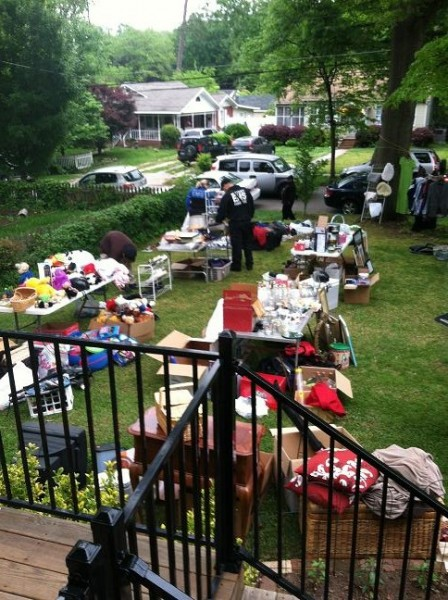 A shot of the yard sale on Bob's front lawn