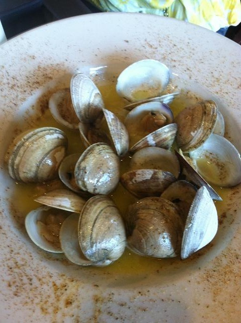 Steamed clams sitting in melted butter