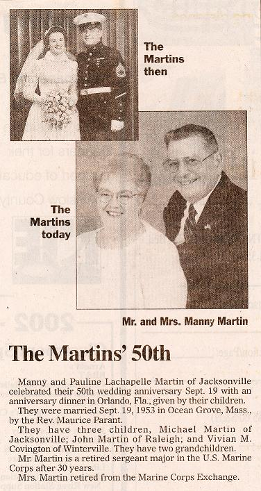 Newspaper clipping from mom and dad's 50th, showing them at their wedding and then again at their 50th