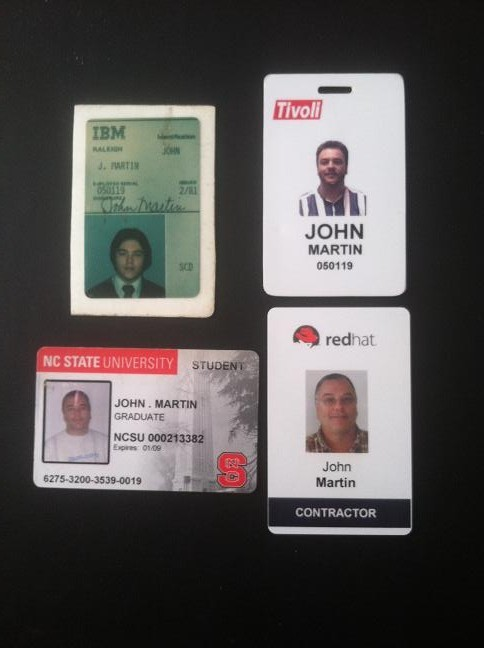 Badges from IBM, Tivoli, NC State, and Red Hat