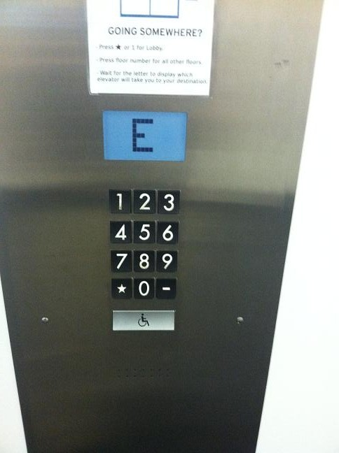 Number pad indicating to get on the E elevator