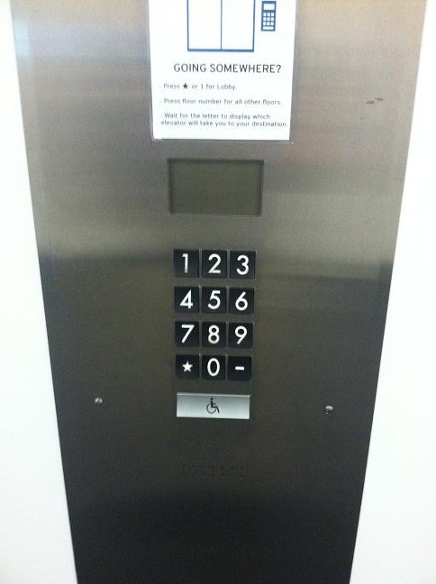 Number pad to call the elevator