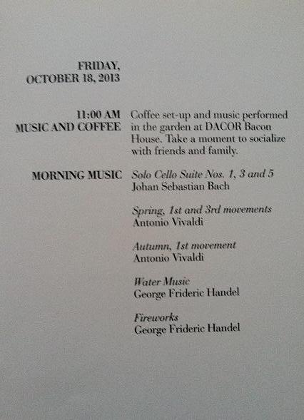 Music and coffee in the garden schedule