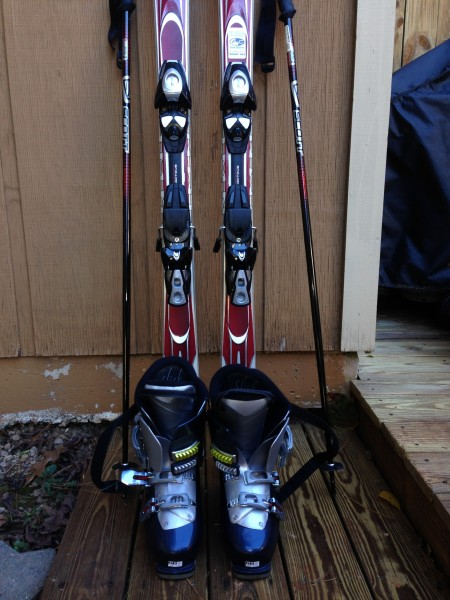 Skis, bindings, boots, and poles