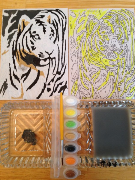 Canvas with the 3 colors done; duplicate of image on sheet, highlighted; and my crystal tray being used as a palette.