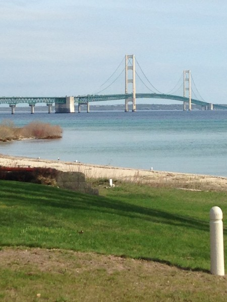 The Mackinaw Bridge from a scenic spot on our way to it