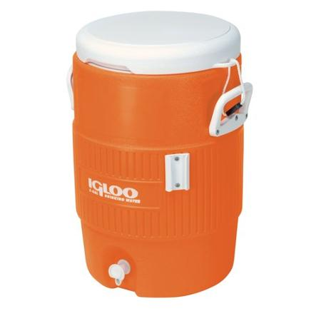 A large Igloo cooler like the one at Flex, except the one at Flex is red.