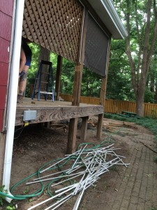 Left side of porch lattice and screening coming down