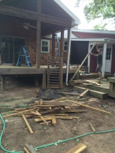 Back side and right side porch screening down