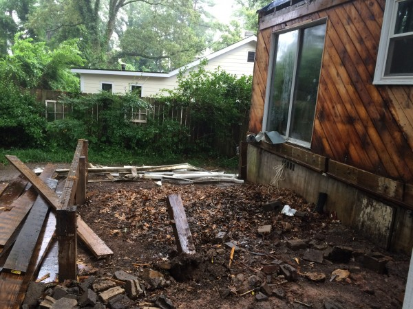 Porch, deck, and foundation gone