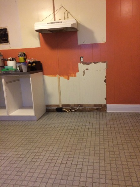 Stove, cupboards, and counters gone