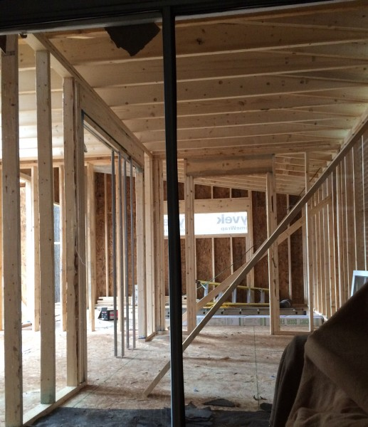 Kitchen, master bathroom, master bedroom framing