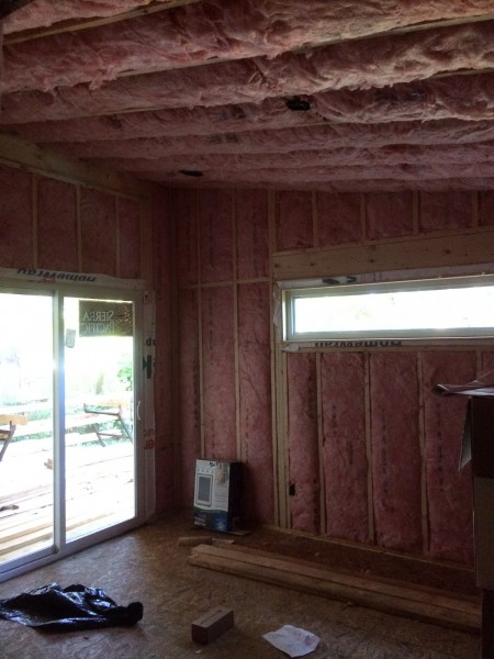 Insulation installation, starting in the master bedroom