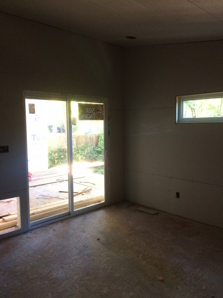 Master bedroom drywall and doggy door