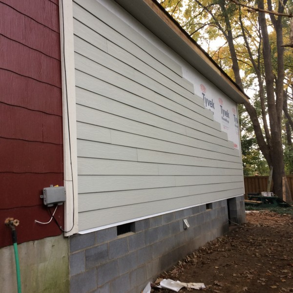 Siding on the addition