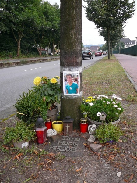 memorial for a road accident victim