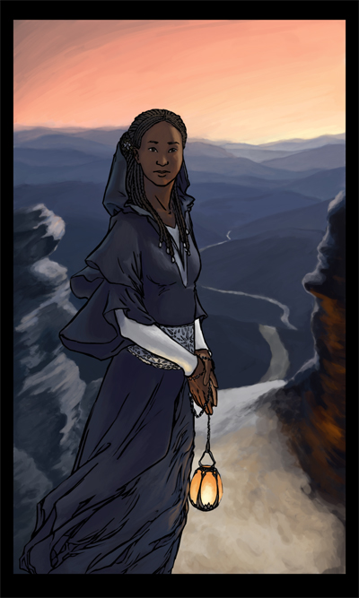 A woman, calm, standing at the start of a path with a lantern in her hands.
