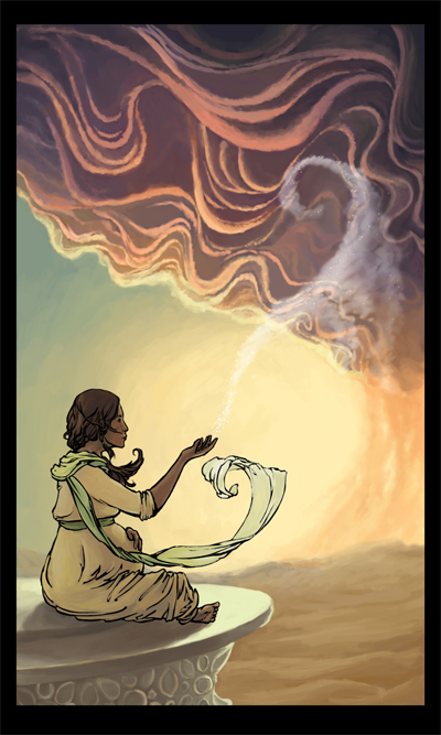 A pregnant woman, seated, clothes and hair curling in the wind, as a storm gathers in the sky.