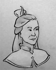 A woman, older, looking to the right, with a royal Fire Nation hairpiece.