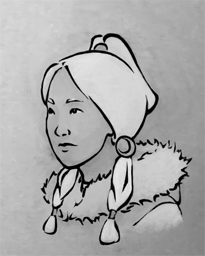 A young woman, white-haired, looking to the left, with a furred hood.