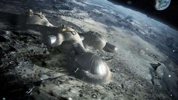 Космос. Лунная база с помощью 3D-печати