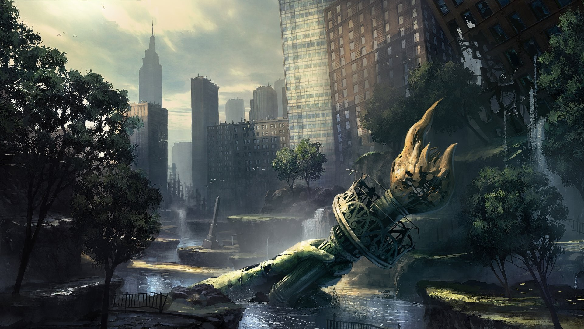 ruins-post-apocalyptic-new-york-city-statue-of-liberty-flooded-HD-Wallpapers