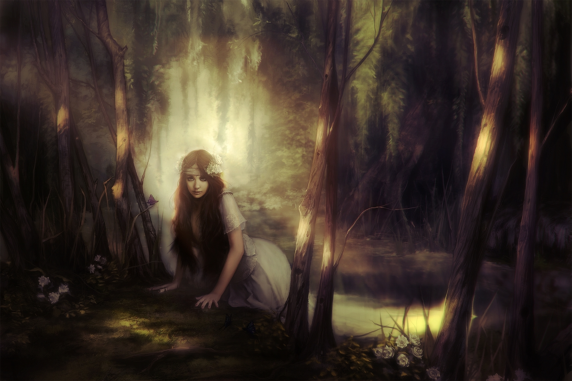 Девушка дерево улыбка лес Girl tree smile forest без смс