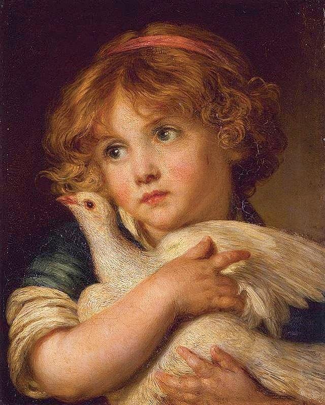 Жан-Батист Грёз. Девушка и голубь.