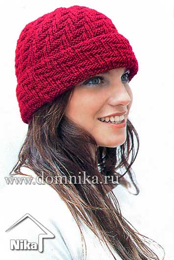 Спицы.  Плотность вязания: 10 см = 25 п. вязаные шапки, береты спицами. как связать шапку спицами.  Шапка с отворотом.