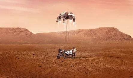 Аппарат Perseverance опускается на поверхность Марса