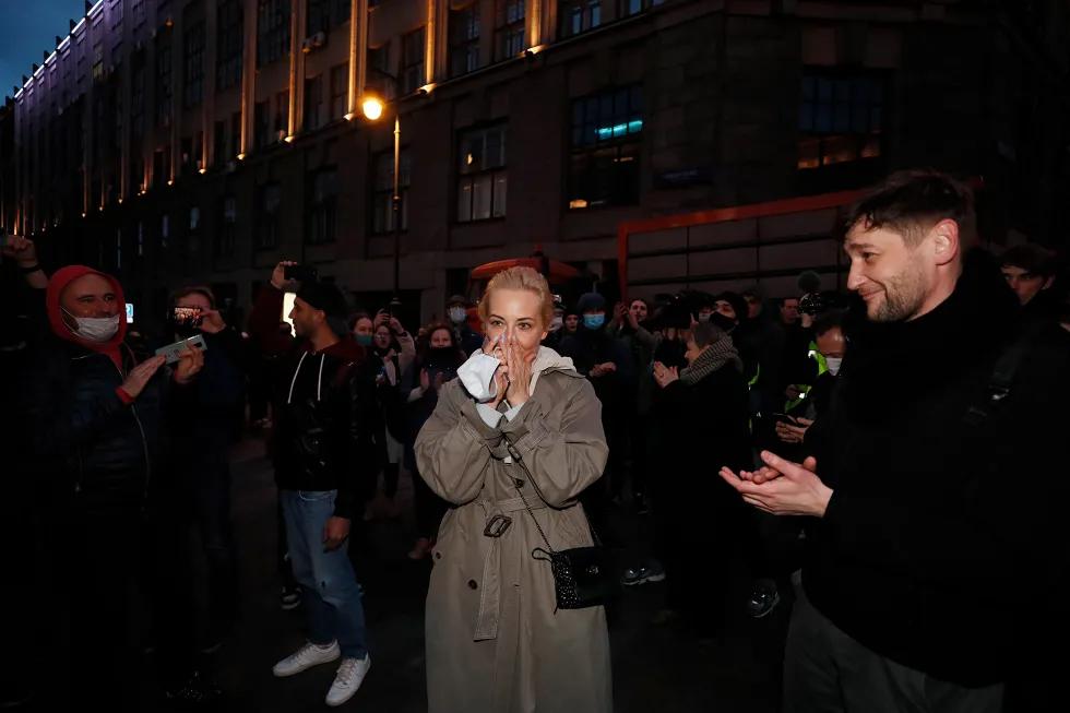 На акции в поддержку Навального в Москве, 21 апреля 2021 года