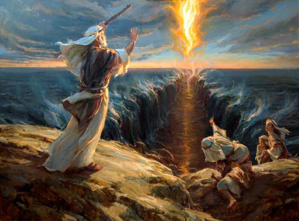 Моисей раздвигает море, чтобы пройти евреям