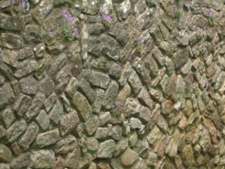 Brick wall with angled brick pattern