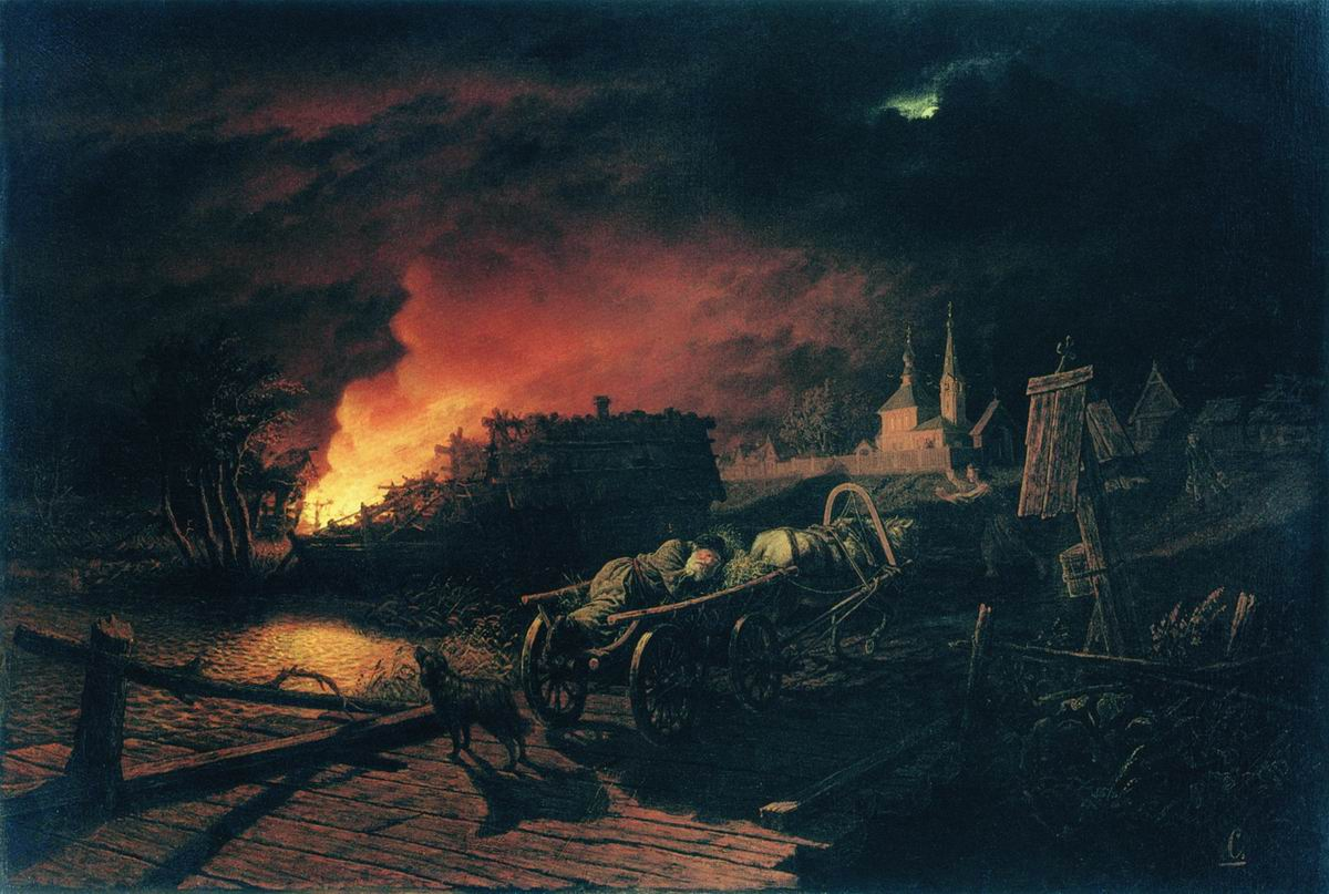 Пожар ночью в селе