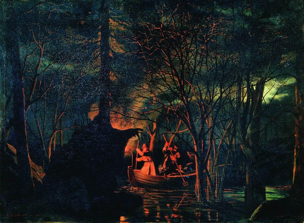 Рыбная ловля острогой ночью. 1867