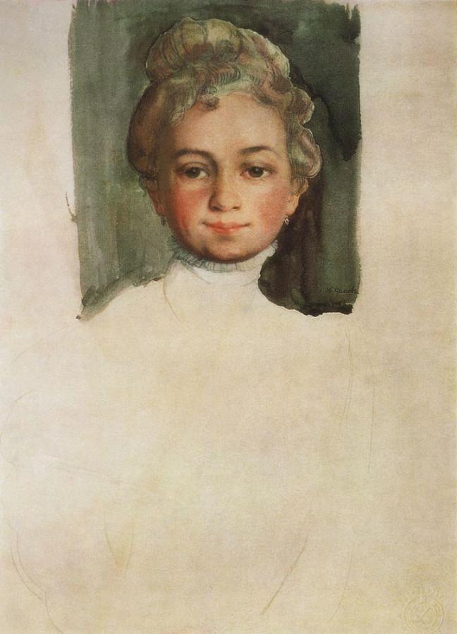 Голова девушки (Е.Е.Владимирская). 1908