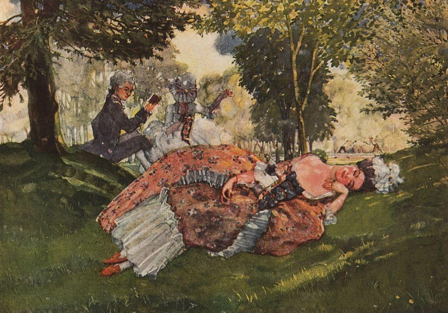 Заснувшая на траве молодая женщина. 1913