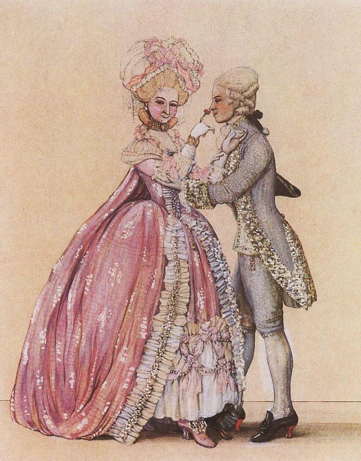 Как одевались в старину (Дама и кавалер). 1903